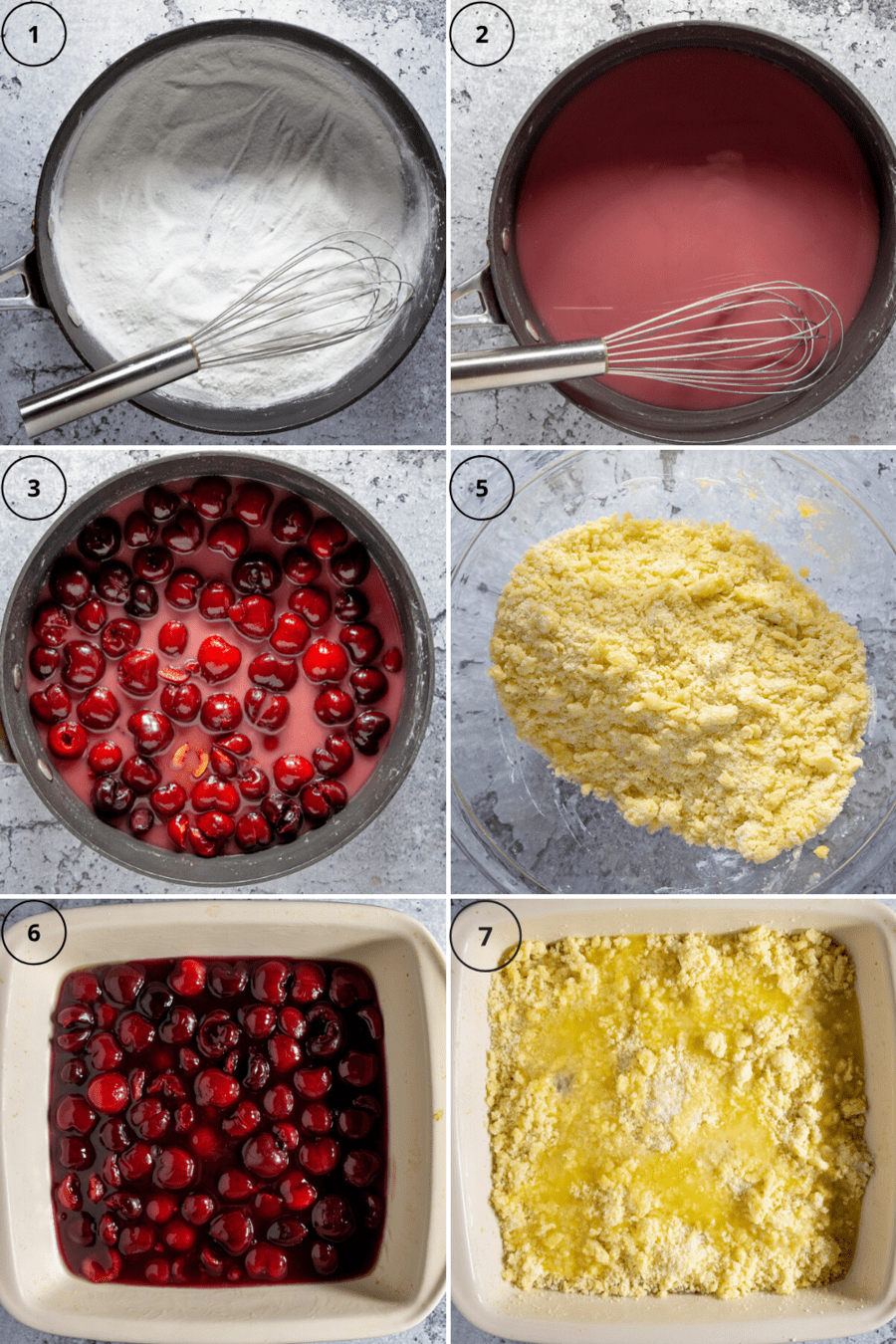 the steps for making cherry cobbler, from cooking the cherries wine sugar and cornstarch in a saucepan to making the cobbler topping and assembling it in a 8 by 8 baking dish.