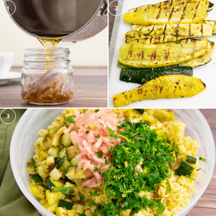 a pot pouring vinegar over shallots in a jar beside a white cutting board with grilled summer squash over a third image of a large frosted bowl with pasta, squash, shallots, and parsley on top
