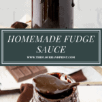 a jar of fudge sauce with a spoon lifting out then a second image of the spoon resting across the top of the jar