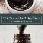 a ramekin of fudge sauce over a second image of a jar of sauce