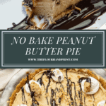 a slice of peanut butter pie with a bite taken out over an image of the whole pie