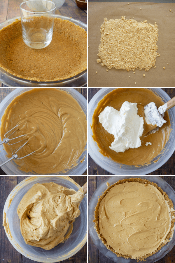graham cracker crust and peanut crumbles being formed beside a bowl of peanut butter filling being mixed with whipped cream and added to the pie crust