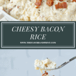 an oval bowl of creamy cheese rice topped with bacon over a second image of a fork lifting a bite out of the bowl