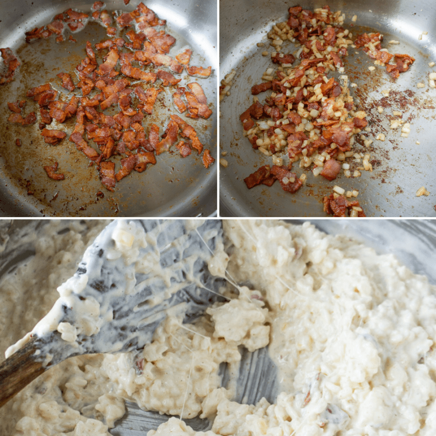 a pan with crisped bacon and then with softened onions added, then with cheese and cream melted in