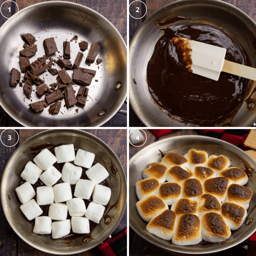 a steel pan with chocolate chunks being melted then topped with marshmallows that get toasted.