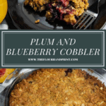 a black plate with a scoop of cobbler and a fork over an image of the whole cobbler
