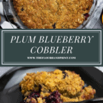 a pie plate with cobbler in it over a plate with cobbler scooped on it