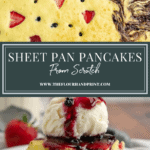 a sheet pan of baked pancakes over an image of two squares of pancakes stacked and topped with ice cream and berry syrup on a white plate