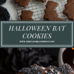 Bat shaped cookies on a cooling rack and a plate of chocolate and sprinkled coated bat cookies.