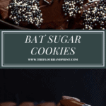 chocolate bat cookies iwth sprinkle wings on a black plate