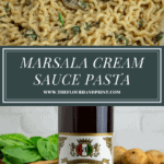 a pot of pasta with marsala cream sauce, mushrooms, and spinach with a large bottle of marsala wine on a wooden table
