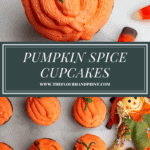 a single pumpkin cupcake set above a white granite platter of more cupcakes