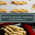 shortbread witch finger cookies on a baking sheet then finished and displayed on a Halloween platter