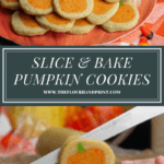 a platter of sugar cookies with pumpkins in the middle above an image of the cookie log being sliced.