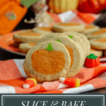 a row of slice and bake pumpkin cookies