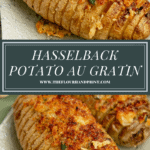 4 hasselback potato with browned breadcrumb and cheese topping