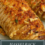 slices of hasselback potato studded with melted cheese and brown breadcrumbs