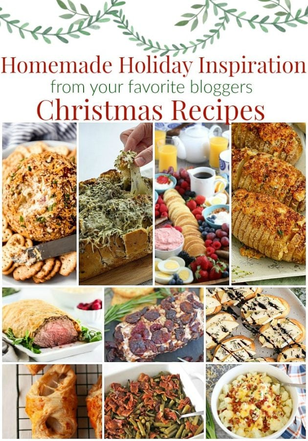collage of holiday inspired savory side dishes