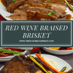 sliced braised beef brisket with and without gravy