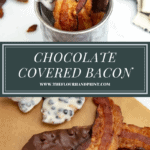 chocolate coated bacon in a metal cup and laid on a platter, one with a bite taken out of it