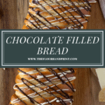a long braided loaf of bread drizzled with chocolate sitting on a wooden cutting board