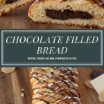 A long loaf of chocolate braided bread cut open to reveal the chocolate filling
