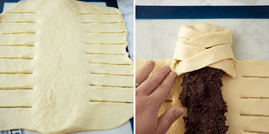 Sweet yeast dough rolled out and cut to form a faux chocolate braided bread, with chocolate filling in the middle.