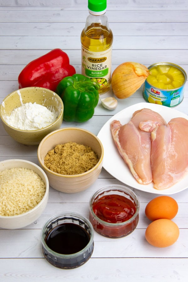 chicken, peppers, onion, eggs, and flour to make sweet and sour chicken