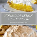 a slice of lemon meringue pie on a plate beside an whole pie