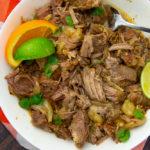 a bowl of shredded mojo pork