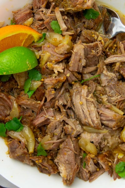 a bowl of shredded mojo pork