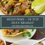 pulled pork with limes, oranges, and cilantro in a white bowl
