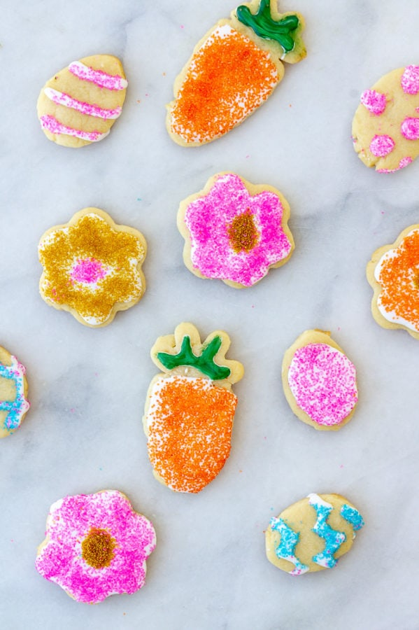 Shortening sugar cookies decorated for Easter