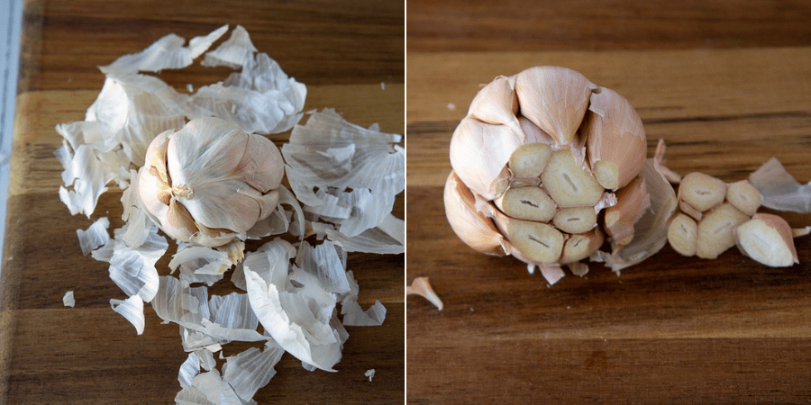 a garlic bulb with papers removed and the tips chopped off