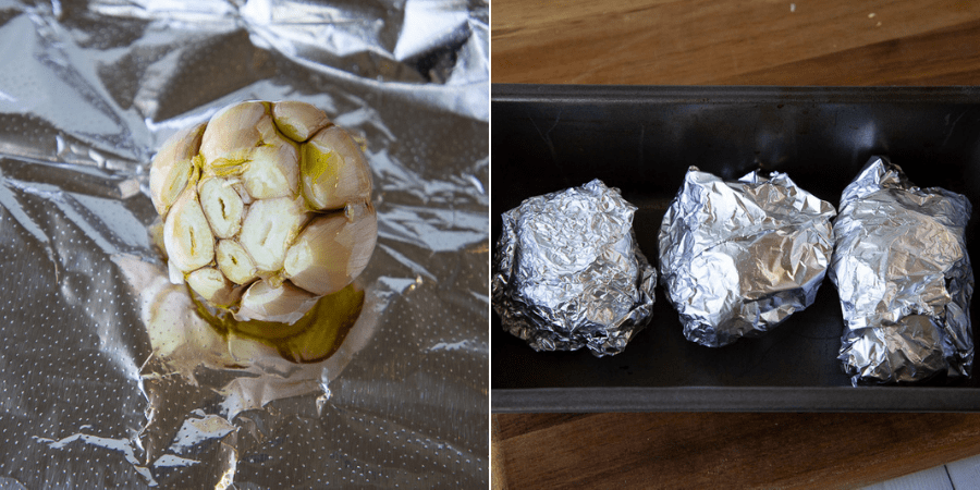 a garlic head with the cloves cut open on top and drizzled with olive oil, then finsihed cloves wrapped in foil in a pan