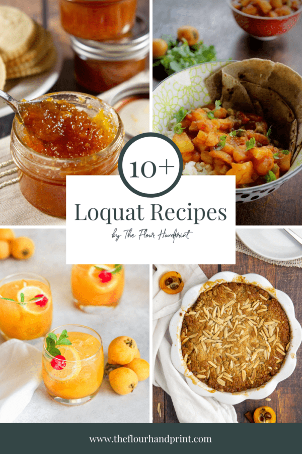 4 loquat recipes photographed, jam, a curry, a cocktail, and a cobbler