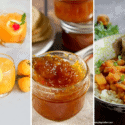 a loquat cocktail, a loquat jam, and a loquat curry in a collage