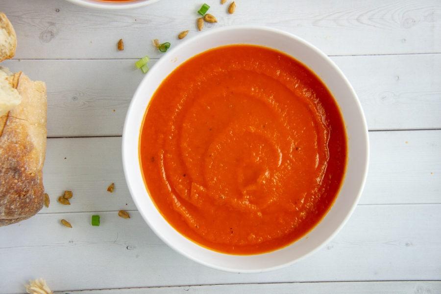 a bowl of creamy tomato soup