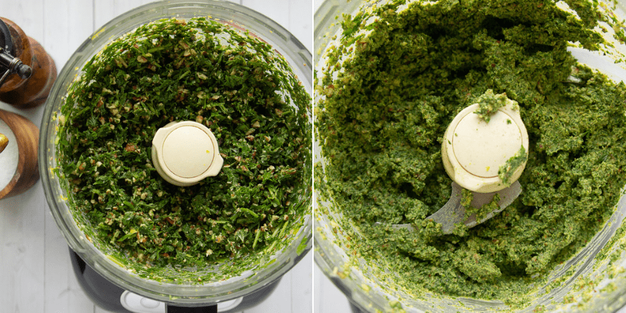carrot top pesto in a food processor before and after adding oil