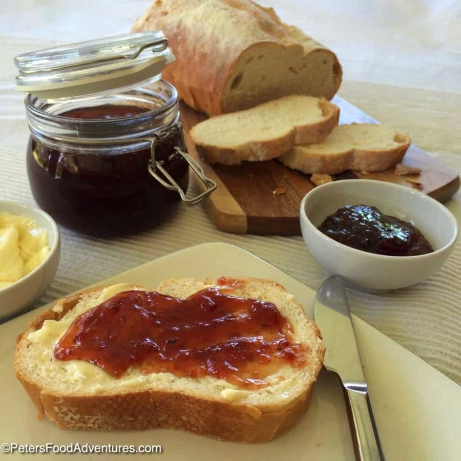 Loquat jam from Petersfoodadventures with a loaf of sliced bread