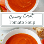 two bowls of creamy carrot tomato soup