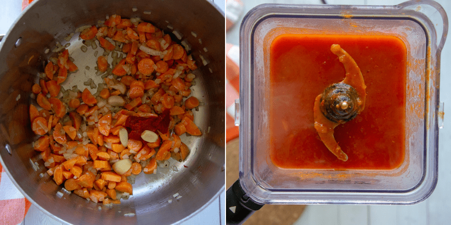 a pot with chopped carrots and onions next to a blender of creamy tomato carrot soup