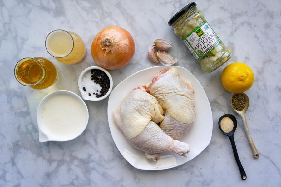 raw chicken, jarred artichokes, onion, stock, lemon, and seasonings to make lemon artichoke chicken