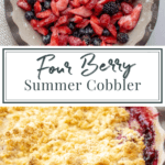 a pie plate of berries over an image of a baked berry cobbler