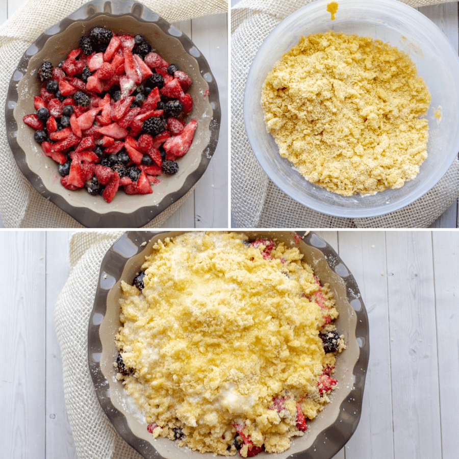 berries in a pie dish with a bowl of cobbler topping, with an assembled berry cobbler with butter below