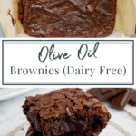 a pan of olive oil brownies with a stack of brownies on a plate below