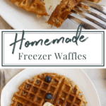 whole wheat waffles with blueberries and butter