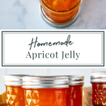 apricot jelly in jars with one open and a spoon lifting some out