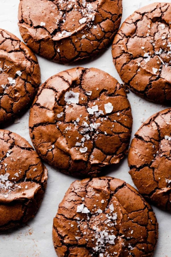 brownie cookies on a white surface