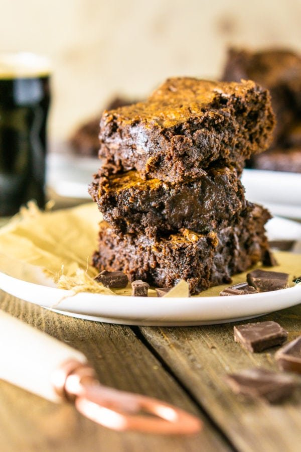 Stout Brownies stacked on a plate